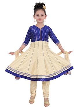 Beige N Navy Blue Art Silk Kids Anarkali suit