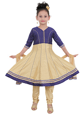 Beige N Navy Blue Art Silk Teens Anarkali suit