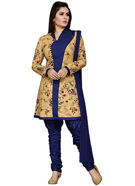 Beige N Navy Blue Churidar Suit