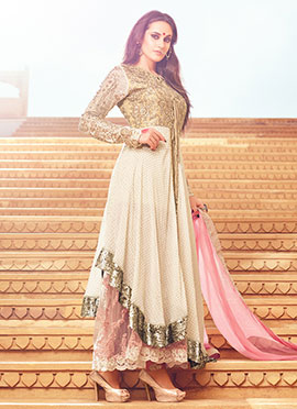 Beige N Off White Layered Anarkali Suit
