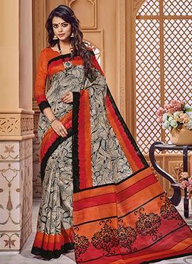 Beige N Orange Art Bhagalpuri Silk Saree
