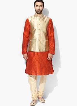Beige N Orange Art Dupion Silk Bandi Set