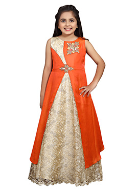 Beige N Orange Art Silk Girls Gown