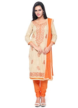 Beige N Orange Churidar Suit