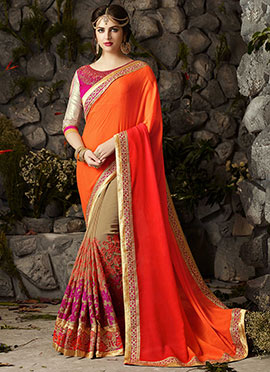 Beige N Orange Half N Half Saree