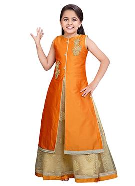 Beige N Orange Kids Long Choli A Line Lehenga