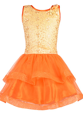 Beige N Orange Net Kids Dress