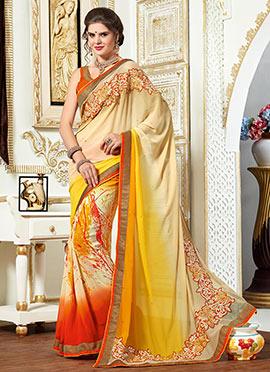 Beige N Orange Ombre Georgette Printed Saree
