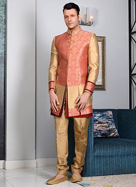 Beige N Peach Art Silk Indowestern Sherwani