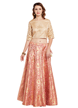 Beige N Peach Bhagalpuri Art Dupion Silk Skirt Set