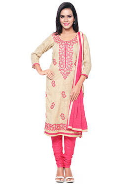 Beige N Peach Churidar Suit