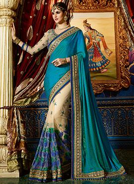 Beige N Peacock Green Half N Half Saree