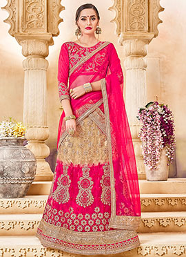 Beige N Pink Art Silk A Line Lehenga
