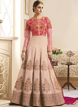 Beige N Pink Art Silk Abaya Style Anarkali Suit