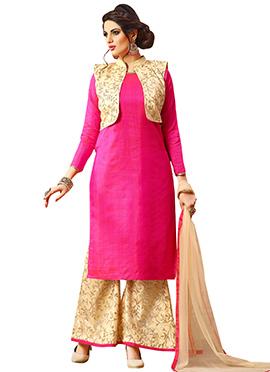 Beige N Pink Art Silk Jacket Style Palazzo Suit