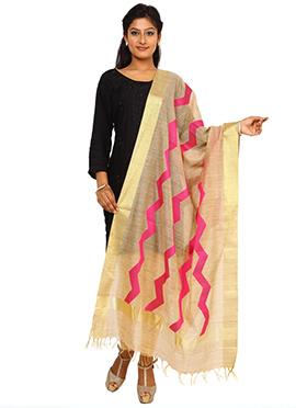 Beige N Pink Benarasi Art Tussar Silk Dupatta
