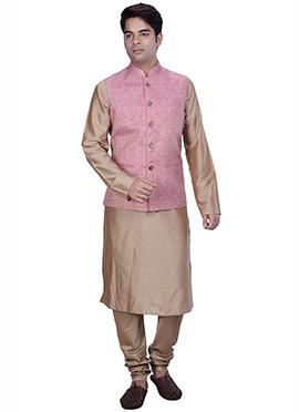 Beige N Pink Benarasi Silk Cotton Bandi Set