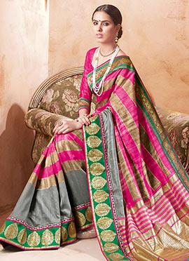 Beige N Pink Bhagalpuri Art Silk Saree