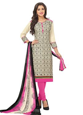 Beige N Pink Bhagalpuri Cotton Churidar Suit