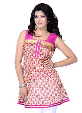 Beige N Pink Blended Cotton Short Kurti