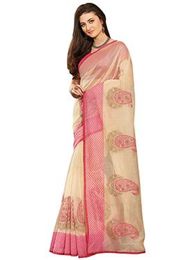 Beige N Pink Chanderi Silk Cotton Saree