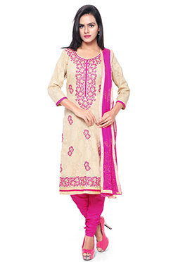 Beige N Pink Churidar Suit