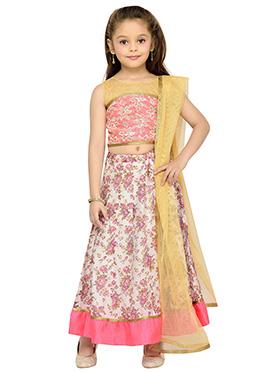 Beige N Pink Cotton Kids Lehenga Choli
