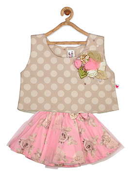 Beige N Pink Cotton Net Kids Dress