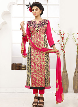 Beige N Pink Cotton Straight Suit
