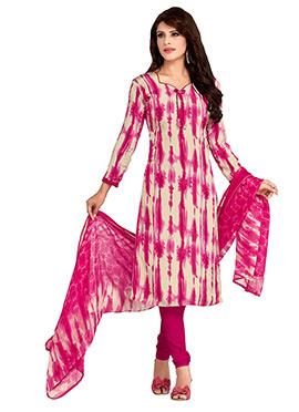 Beige N Pink Crepe Churidar Suit