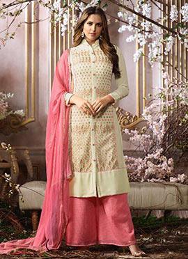 Beige N Pink Georgette Palazzo Suit