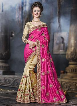 Beige N Pink Half N Half Saree