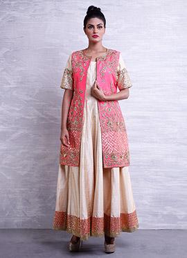 Beige N Pink Jacket Style Anarkali Suit