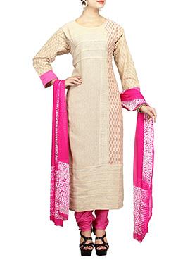 Beige N Pink Jute Churidar Suit
