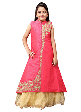 Beige N Pink Kids Long Choli A Line Lehenga