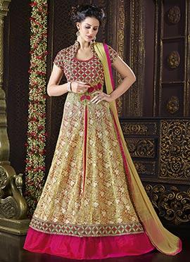 Beige N Pink Net Abaya Style Anarkali Suit