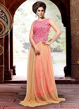 Beige N Pink Net Anarkali Suit