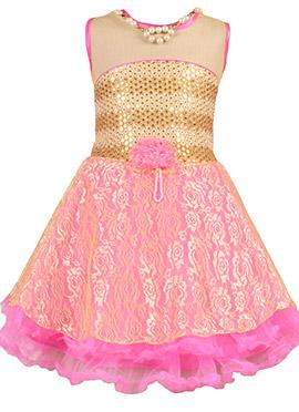 Beige N Pink Net Kids Dress