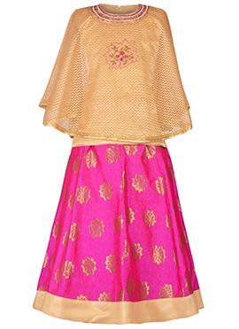 Beige N Pink Net Kids Skirt Set