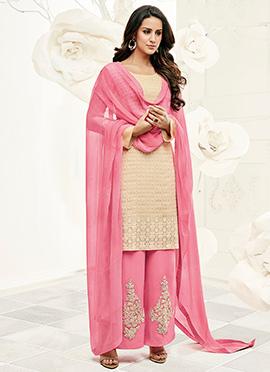 Beige n Pink Palazzo Suit