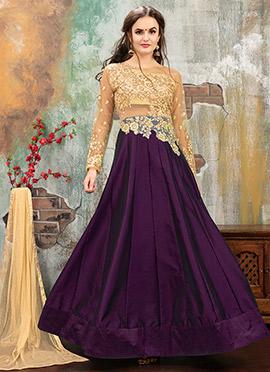 Beige N Purple Art Taffeta Silk Abaya Style Anarkali Suit