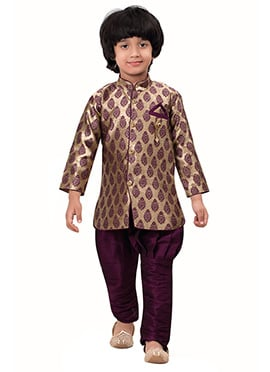 Beige N Purple Breeches Style Kids Sherwani