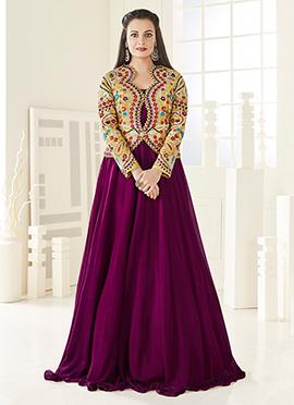 Dia Mirza Beige N Purple Georgette Anarkali Suit