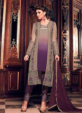 Beige N Purple Georgette Straight Suit