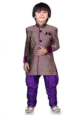Beige N Purple Jacquard Kids Sherwani