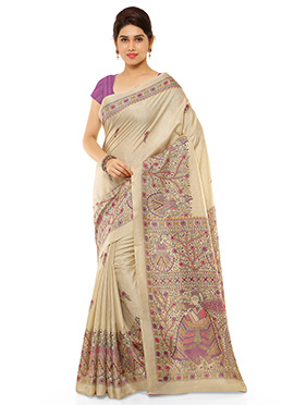 Beige N Purple Pashmina Printed Saree