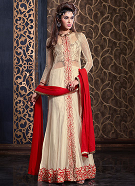 Beige N Red Anarkali Suit