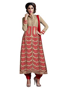 Beige N Red Anarkali Suit