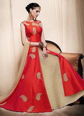 Beige N Coral Pink Abaya Style Anarkali Suit