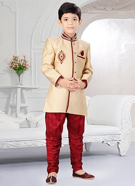 Beige N Maroon Art Silk Breeches Style Kids Sherwa
